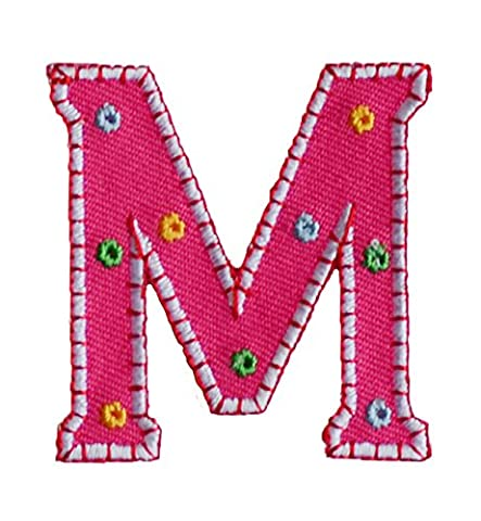 TrickyBoo Iron-On Letter Patch Craft Applique M Pink 5Cm For Clothing Fabric Names Crafts Jeans To Iron On Football Club City Kids Sew On To Personalize Gifts For Skirt Personalise Plate Cushion - Elmos Letter