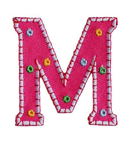 TrickyBoo Iron-On Letter Patch Craft Applique M Pink 9Cm Personalize Jeans Clothing Fabric Names Crafts To Iron On Cap Jacket Neckerchief Ceiling Flag Pants Plate Backpack Trousers Cushion Scarf Bunt