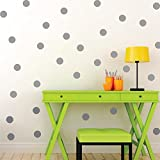 ufengke® 20-pcs Polka Dots Circles Wall Decals, Children's Room Nursery Removable Wall Stickers Murals Grey