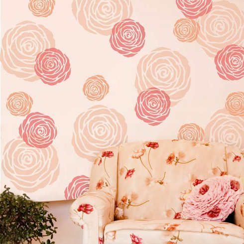 Rose Flower Wall Art Stencil - X-Small - Reusable Stencils for Walls! - DIY Home Decor - By Cutting Edge Stencils