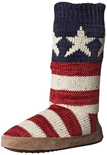 Muk Luks Women's Vanessa Americana Slouch Boot, Red, Small/5