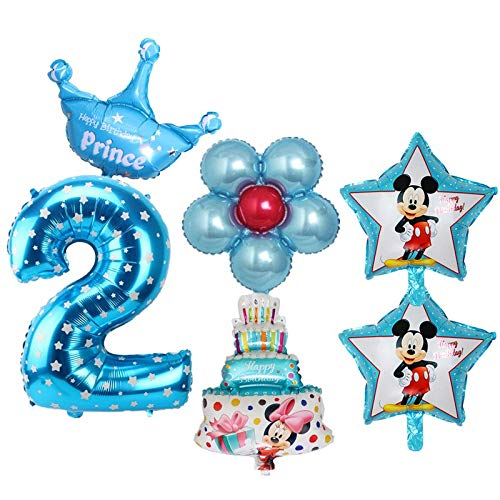 Amazon 6pcs Set 2nd Birthday Balloons Digital 2 Foil