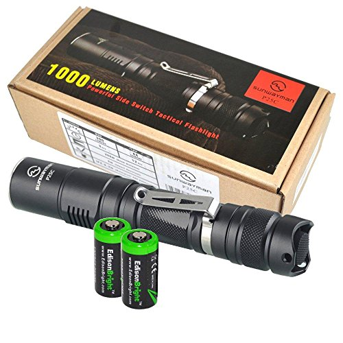 Sunwayman P25C 1000 Lumen CREE XM-L2 U2 LED Tactical Flashlight with Two EdisonBright CR123A Lithium Batteries