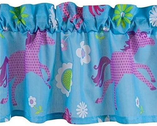 Girls Turquoise Blue Pink Pony Horse Window Valance 16 x 84