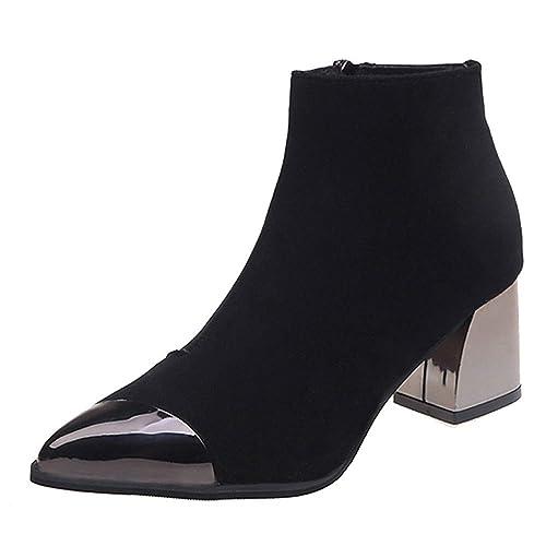 Botas Cortas para Mujer,Mujeres Moda señaló Toe Suede cuñas de tacón Alto Zapatos Martin