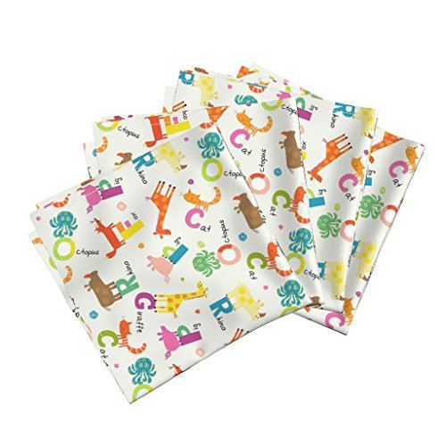 Roostery Rhinocerous Organic Sateen Dinner Napkins Animal Alphabet by Amy Schimler-Safford Set of 4 Cotton Dinner Napkins Made