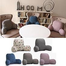 Liumltao Reading Back Rest Pillow Lumbar Support Pillow Cushion for Office Chair, Sofa, Bed Deep grey Large