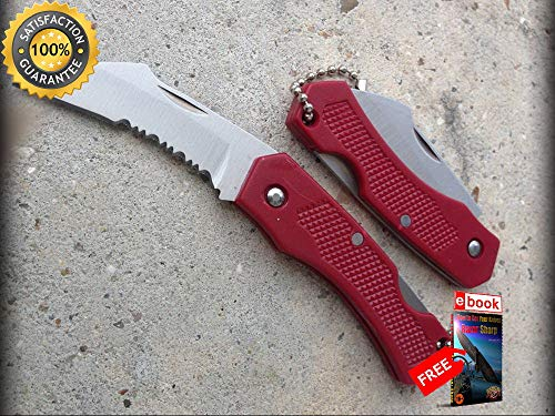 - FOLDING POCKET Sharp KNIFE Mini Red Silver Serrated Curved Blade Keychain EDC 5 Combat Tactical Knife + eBOOK by Moon Knives