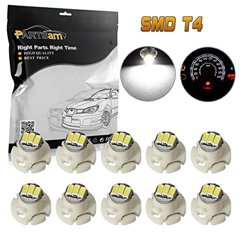 Partsam 10PCS White T4.2 Neo Wedge Instrument Panel LED Light Gauge Cluster Bulbs Shifter Radio Switch Indicator Lamp (Instrument Tacoma Toyota)