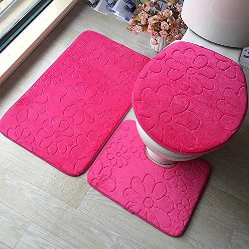 Transer 3pcs Soft Flannel Non Slip Bathroom Set, Toilet Seat Cover Rug U Pad Floor Carpet Shower Mat (Hot Pink)
