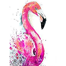 5D Diamond Painting Kit by Numbers DIY Crystal Rhinestone Cross Stitch Embroidery Arts Craft Picture Supplies for Home Wall Decor,Pink Flamingo - 11.8x15.7 inches