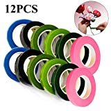 12Pcs Floral Tape 1/2 inch Self-Sealing, 6 Colors for Bouquet Stem Wrap Crafts, Florist Necessaries Flower Making Tapes, 30 Yard