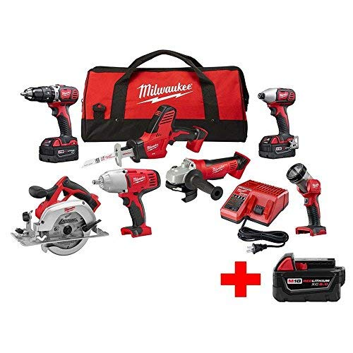 Milwaukee M18 18-Volt Lithium-Ion Cordless Combo Kit (7-Tool) W/ (1) 5.0Ah, (2) 3.0Ah Batteries, 1 Charger, 1 Tool Bag