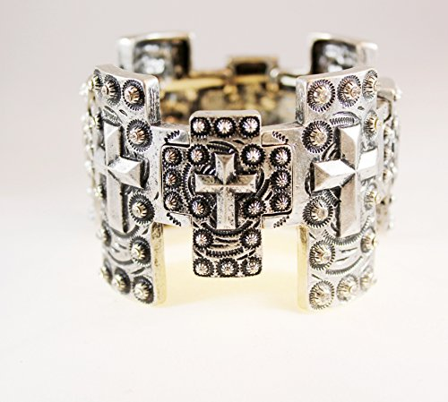 Chunky Medieval Chritian Repeating Cross Stretch Bracelet (Chritian Religious Cross)