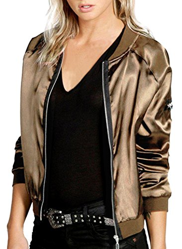 [IF FEEL Women Classic Quilted Jacket Short Bomber Jacket Coat ((US 16-18)XXL, Gold)] (Greaser Outfit)