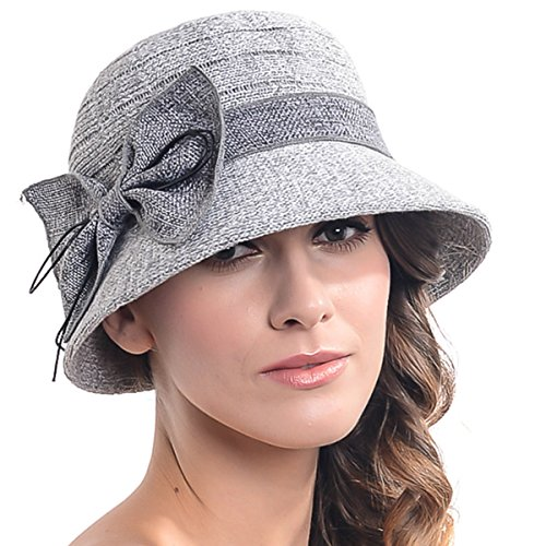 Women's Contton & Linen Thread Cloche Hat with Bow (Light - Melbourne Hat Shops