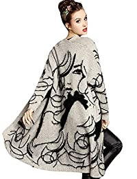 Eleter Womens Cardigans Beauty Face Splicing Open-Front Long Sleeves Sweater