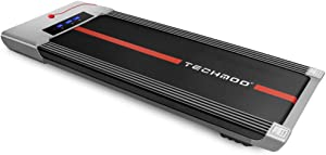 TECHMOO Ultra Thin Treadmill 2 in 1 Smart Treadmill with Remote Control Safety Lock Under Desk Treadmill Portable Walking Jogging Running Pad for Indoor Outdoor Gym