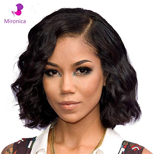 2019 Mironcia 8 Inch Glueless Body Wave Short Bob Human Hair Lace Front Wigs for Women 13×4 Frontal Pre plucked Hairline Natural 7A 100% Virgin 8