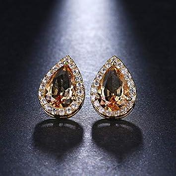 XEHL Pendientes de Perlas de Zirconia cúbica de Moda Big Pave Clear Waterdrop Crystal Pendientes para Mujeres Regalos de joyería de Boda