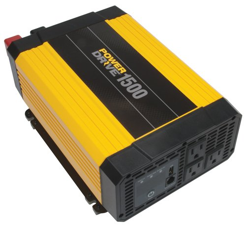 PowerDrive RPPD1500 1500-Watt DC to AC Power Inverter with USB Port and 3 AC Outlet by PowerDrive