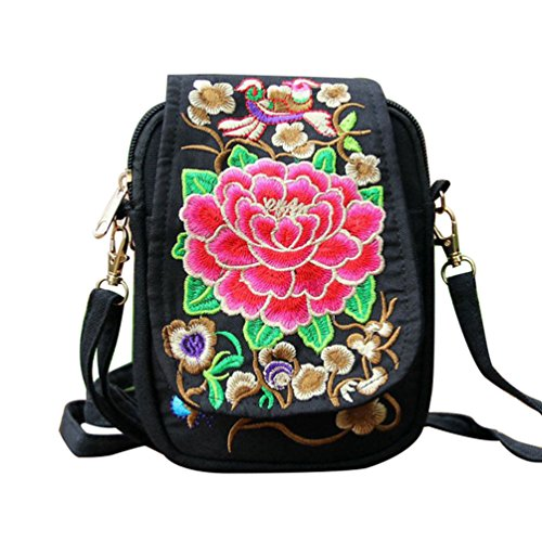 Profusion Circle Womens Embroidered Flower Cross Body Bag Small Crossbody Phone Bag Pouch Ethnic Style Shoulder Bag Red