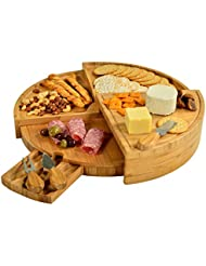"""Picnic at Ascot Vienna Multi Level Bamboo Board for Cheese & Appetizers - 18"""" Diameter - USA Patented & Quality Assured"""