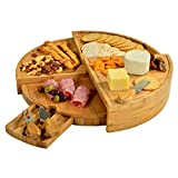 Picnic at Ascot Vienna Multi Level Bamboo Board for Cheese & Appetizers - 18'' Diameter - USA Patented & Quality Assured