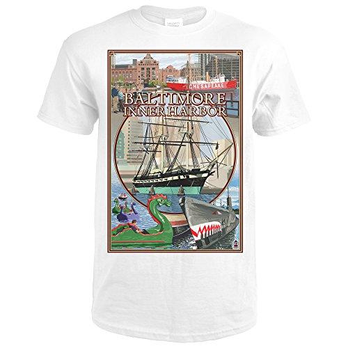 Baltimore, Maryland - Inner Harbor Scenes (Premium White T-Shirt - Baltimore Shops Inner Harbor