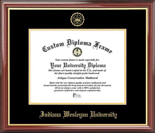 - Indiana Wesleyan University Wildcats - Embossed Seal - Mahogany Gold Trim - Diploma Frame