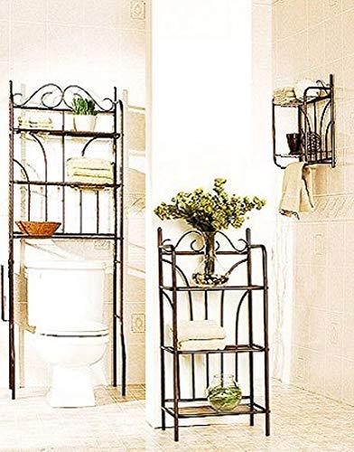 Bathroom Space Saver 3-Piece Storage Metal Bath Set Organizer in Rubbed Bronze Finish (Ferniture)