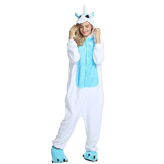 Pijama Unicornio Animal Onesie de Caliente Franela Suave Precioso Unisex Anime Cosplay Ropa Niños Adulto Altura