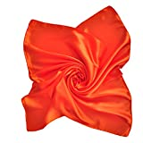 Silk Feel Soft Satin Square Scarf Head Neck Multiuse Solid Colors Available (Orange)