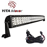 50 inch led light bar spot - YITAMOTOR Curved 50 Inch Flood Spot Combo LED Work Light Bar Driving Offroad Light for Truck SUV 4WD Jeep with Wiring Harness 480W, 3 Year Warranty