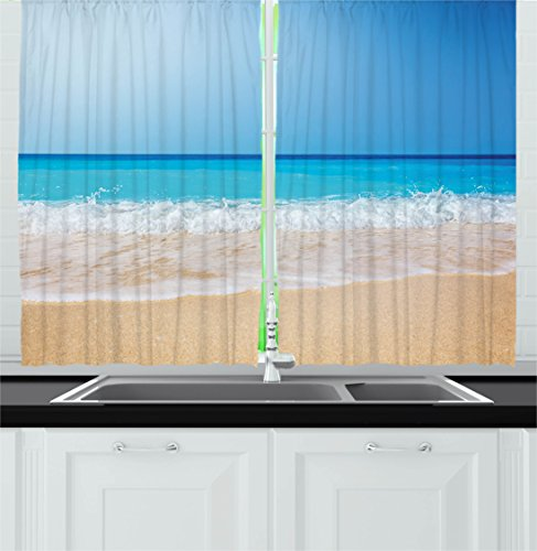 Ambesonne Wide Tap Kitchen Curtains, Serene Tropical Beach Paradise on Earth Traveling Ocean Heaven Trip Picture, Window Drapes 2 Panels Set for Kitchen Cafe, 55W X 39L Inches, Turquoise Cream