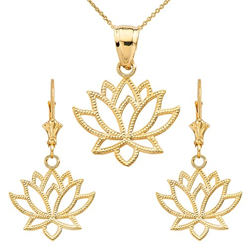 Dazzling 14k Yellow Gold Lotus Flower Filigree-Style Pendant Necklace and Earrings Set, 22