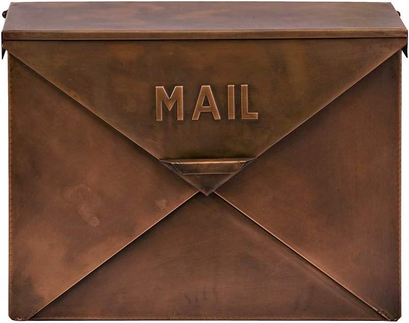 "CC Home Furnishings 16"" Unique Envelope Style Rustic Copper Colored Decorative Mail Box"