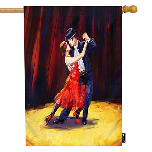 Moslion Dance House Flag Oil Painting of Tango Dancers with Black Suit Red Dress Garden Flags 28x40 Inch Double-Sided Banner Welcome Yard Flag Home Outdoor Decor. Lawn Villa