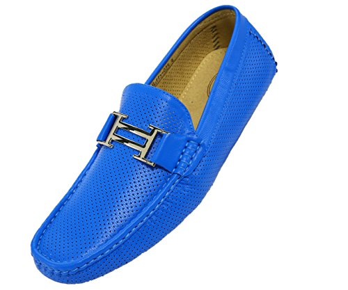 Amali Men's Smooth and Perforated Driving Moccasin Casual Loafer Driving Shoes, Easy Comfortable Slip On Royal Blue