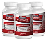 L glutamine powder - L Glutamine 500mg - Natural supplement (3 Bottles - 300 Tablets)