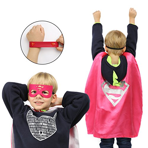 Ecparty Superheros Cape and Mask Matching Shaped Rubber Wristbands for Kids Party Supply Packs (4 Packs)