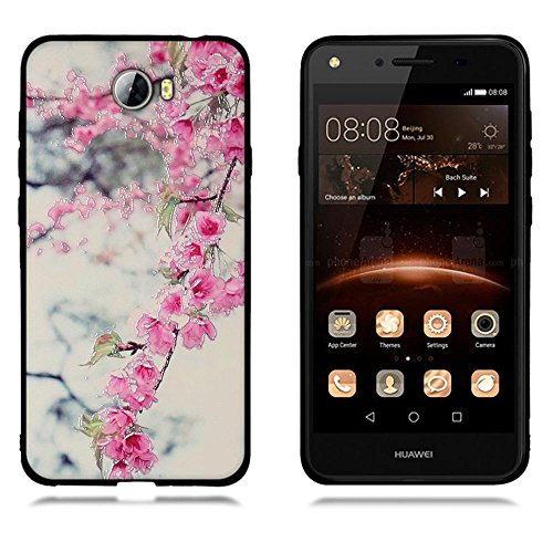 Funda Huawei Y5 II Y5 2, FUBAODA [Flor rosa] caja del teléfono elegancia contemporánea que la manera 3D de diseño creativo de cuerpo completo protector Diseño Mate TPU cubierta del caucho de silicona  pic: 05