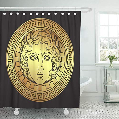 - Emvency Shower Curtain Waterproof Polyester Fabric 72 x 72 inches Aged Greek and Roman God Apollo Antique Style Ancient Beam Beautiful Black Boho Set with Hooks Decorative Bathroom