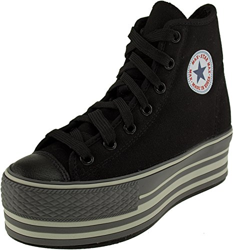 Maxstar High Top Canvas Stripe Platform Sneakers Shoes Black 8 B(M) US Womens
