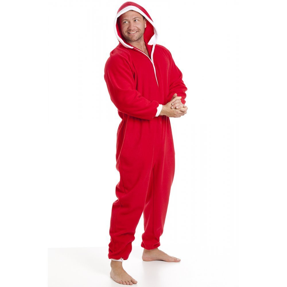 Camille Classic Mens Soft Fleece Red And White Santa Festive Hooded Onesie