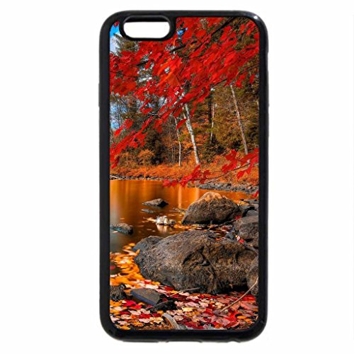iPhone 6S / iPhone 6 Case (Black) wooden bridge on a beautiful autumn river