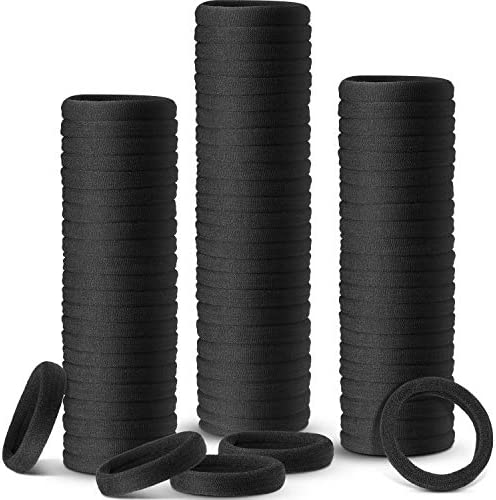 100 pcs Black Hair Ties for Women Mens Girls, Large Stretch Cotton Seamless Hair Bands, Hair Elastic Ponytail Holders for Thick Heavy and Curly Hair (Black, 4cm in Diameter, 0.8cm in Width)