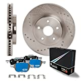 Front Premium Cross Drilled Rotors and Max M1 Ceramic Pads Brake Kit KM123221 | Fits: 2009 09 Hummer H3T