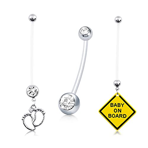 D Bella Belly Button Ring Sports Or Pregnancy Flexible Long Belly Rings Shining Cz Ball Navel Bar Retainer 14g 1 6mm 1 1 2 Inch Length Body Piercing
