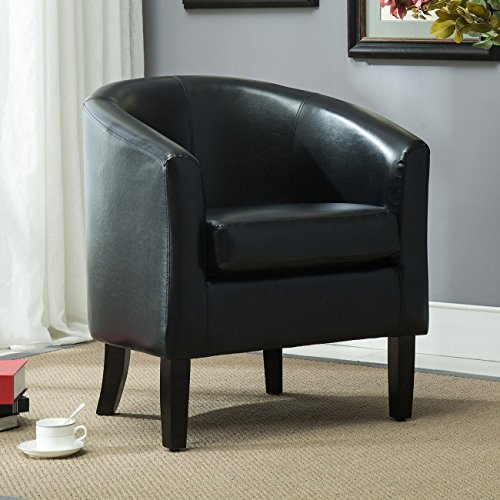 Chair Accent Elegance Faux Leather, Black (Arm Chairs Round Leg Table)